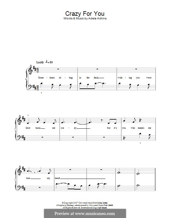 Crazy for You: For easy piano by Adele