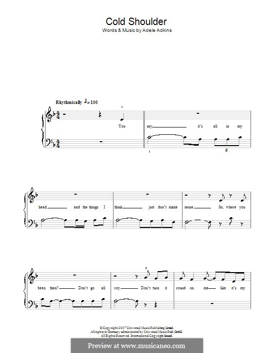 Cold Shoulder: For easy piano by Adele
