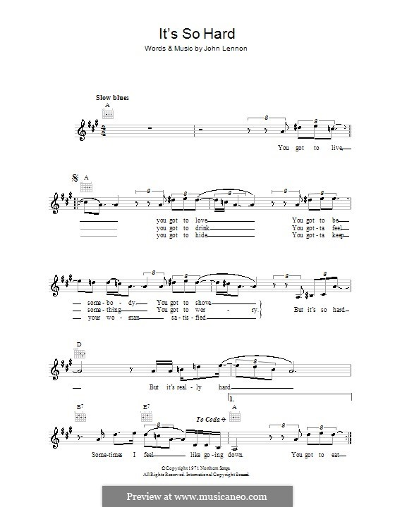 It's So Hard: Melody line, lyrics and chords by John Lennon