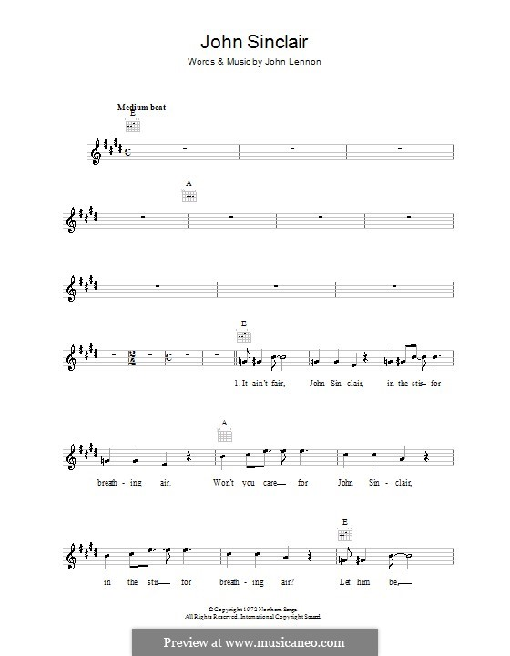 John Sinclair: Melody line, lyrics and chords by John Lennon