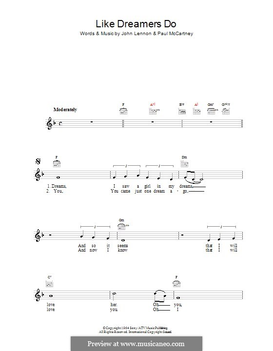 Like Dreamers Do (The Beatles): Melody line, lyrics and chords by John Lennon, Paul McCartney