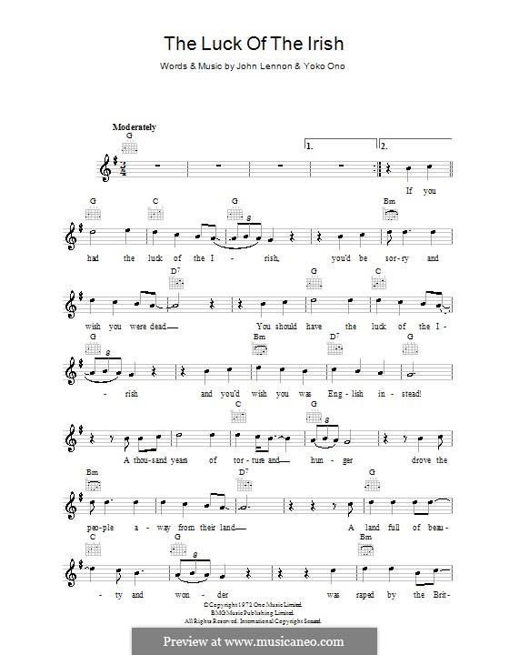 The Luck of the Irish: Melody line, lyrics and chords by John Lennon, Yoko Ono