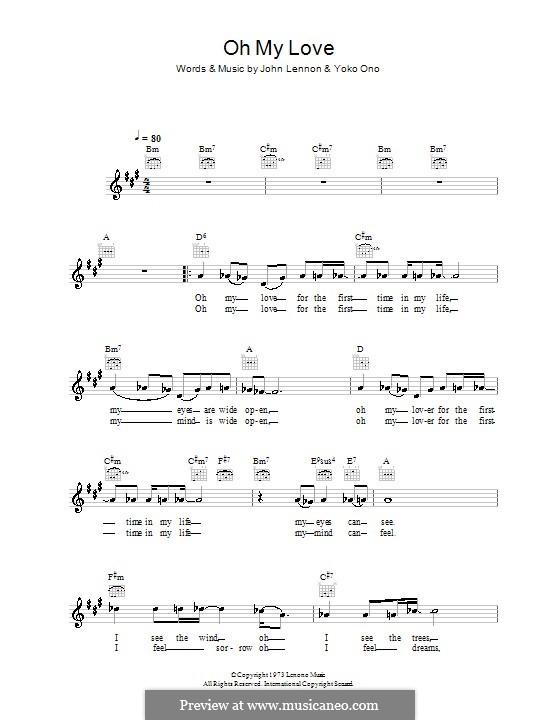 Oh My Love: Melody line, lyrics and chords by John Lennon, Yoko Ono