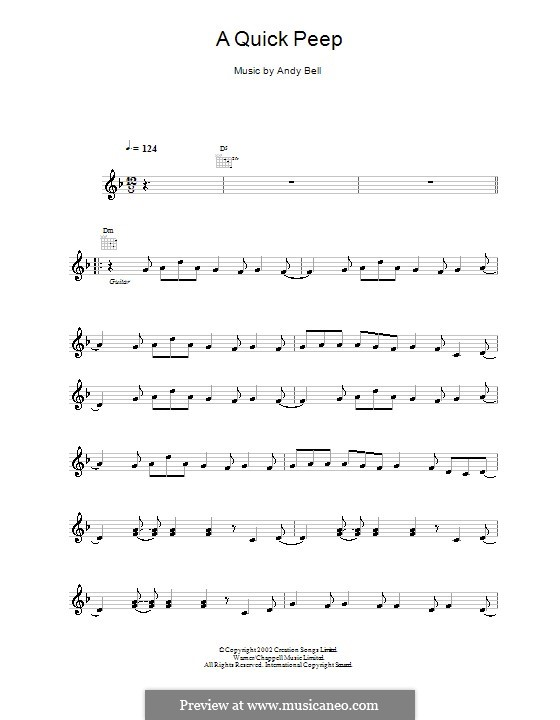 A Quick Peep (Oasis): Melody line, lyrics and chords by Andy Bell