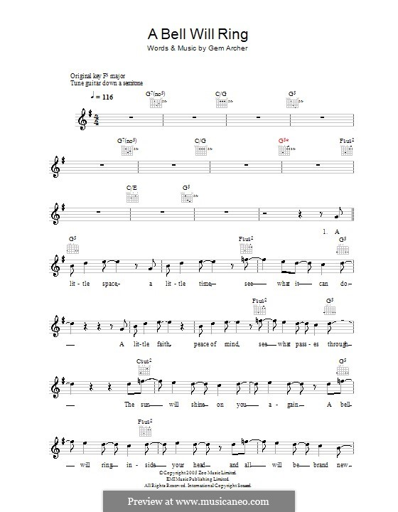 A Bell Will Ring (Oasis): Melody line, lyrics and chords by Gem Archer
