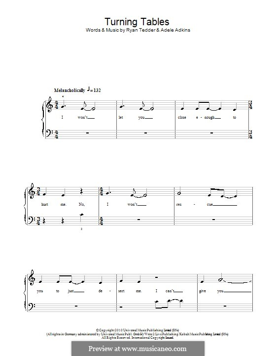 Turning Tables: For easy piano by Adele, Ryan B Tedder