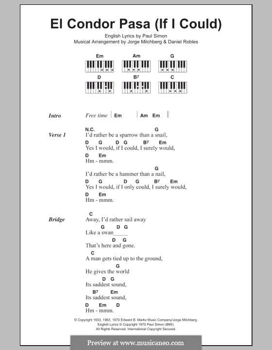 El condor pasa: Lyrics and piano chords by folklore