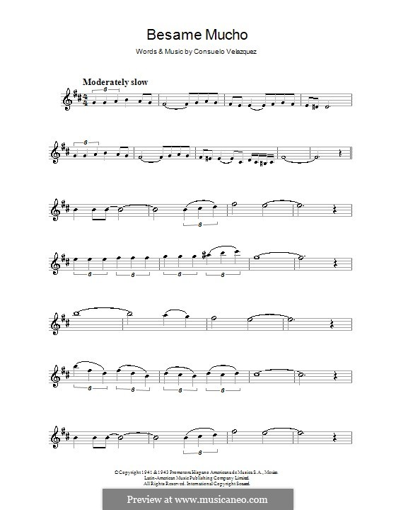 Besame Mucho (Kiss Me Much): For alto saxophone by Consuelo Velazquez