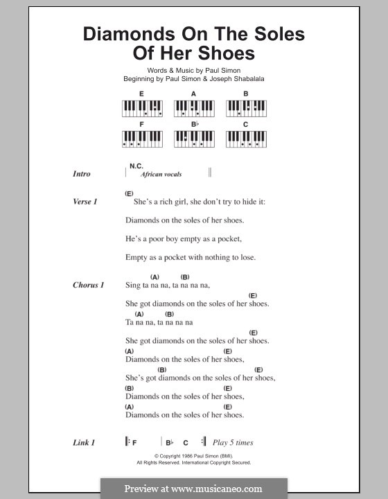 Diamonds on the Soles of Her Shoes: Lyrics and piano chords by Paul Simon