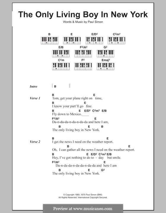 The Only Living Boy In New York By P Simon Sheet Music On Musicaneo