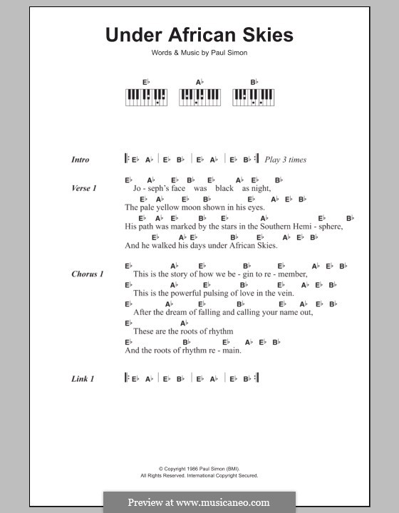 Under African Skies By P Simon Sheet Music On Musicaneo