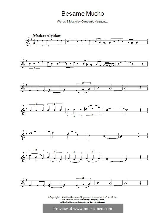 Besame Mucho (Kiss Me Much): For clarinet by Consuelo Velazquez