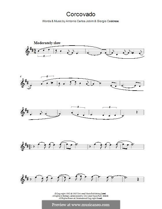 Corcovado (Quiet Nights of Quiet Stars): For clarinet by Antonio Carlos Jobim