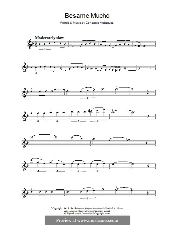 Besame Mucho (Kiss Me Much): For violin by Consuelo Velazquez