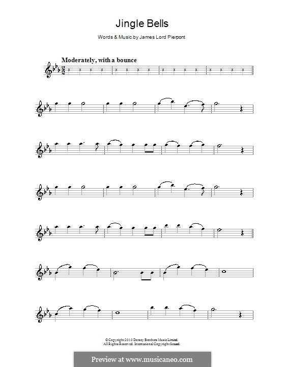 Jingle Bells (Printable scores): For violin by James Lord Pierpont