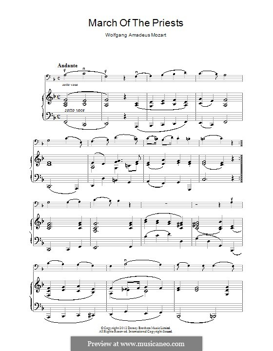 March of the Priests: For piano by Wolfgang Amadeus Mozart