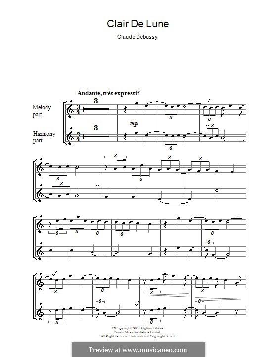 No.3 Clair de lune: For recorder by Claude Debussy