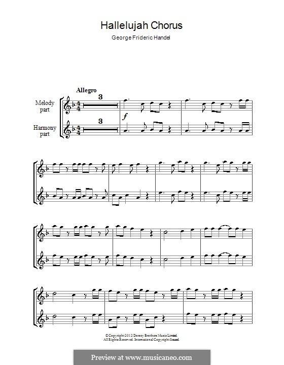 No.44 Hallelujah: For two recorders by Georg Friedrich Händel