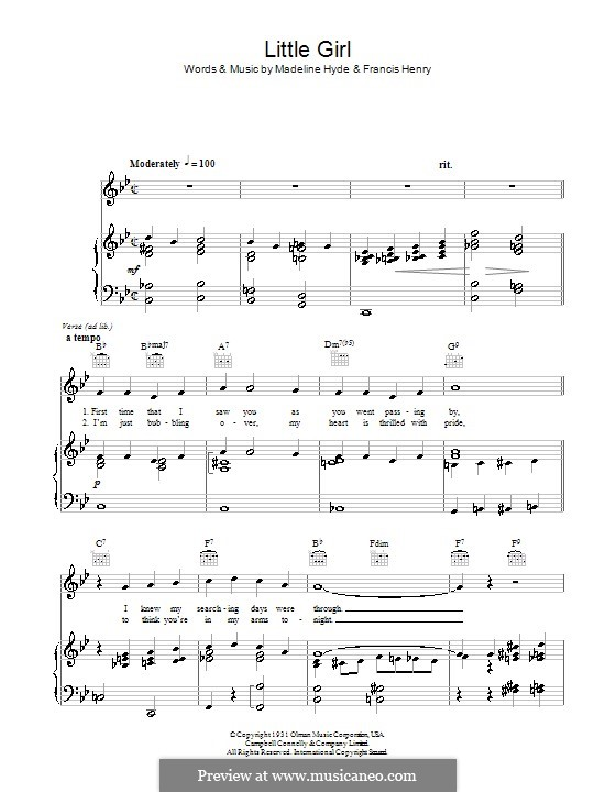 Little Girl: For voice and piano (or guitar) by Francis Henry, Madeline Hyde