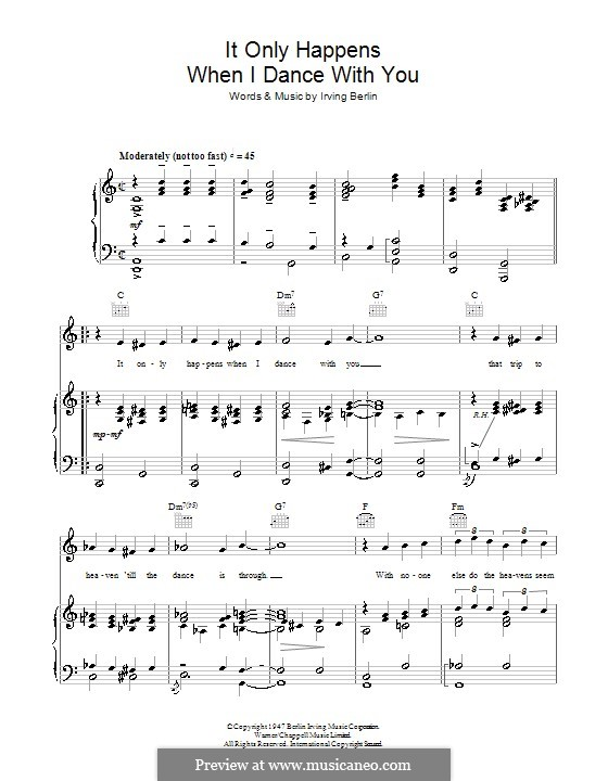 It Only Happens When I Dance with You (Judy Garland): For voice and piano (or guitar) by Irving Berlin