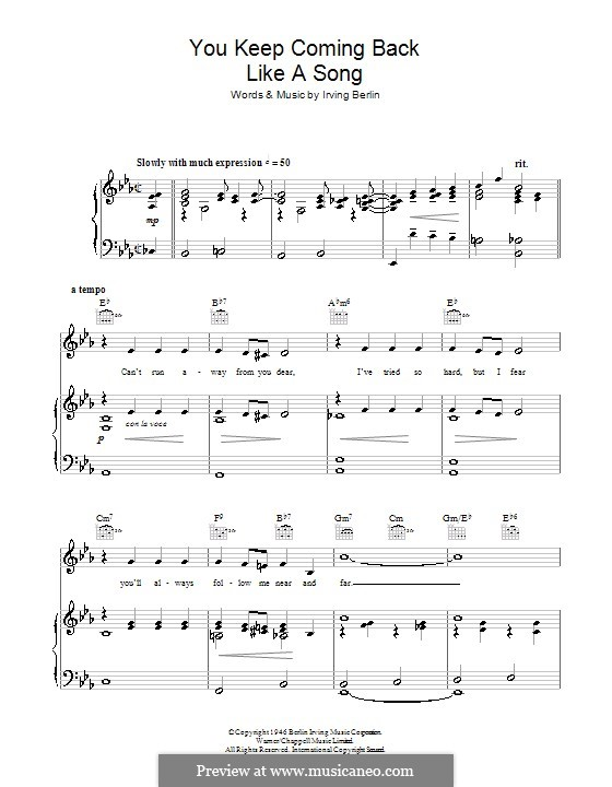You Keep Coming Back Like a Song (Bing Crosby): For voice and piano (or guitar) by Irving Berlin