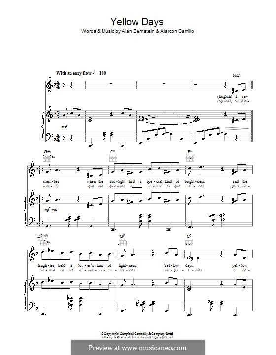Yellow Days (Frank Sinatra): For voice and piano (or guitar) by Alan Bernstein, Alarcon Carrillo