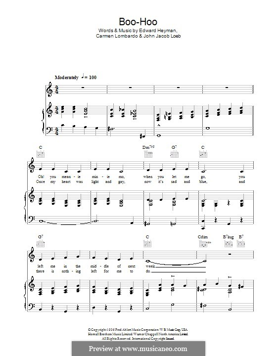Boo-Hoo: For voice and piano (or guitar) by Carmen Lombardo, John Jacob Loeb