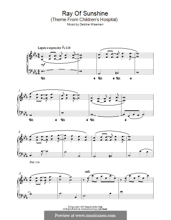 Ray of Sunshine (Theme from Children's Hospital): For piano by Debbie Wiseman