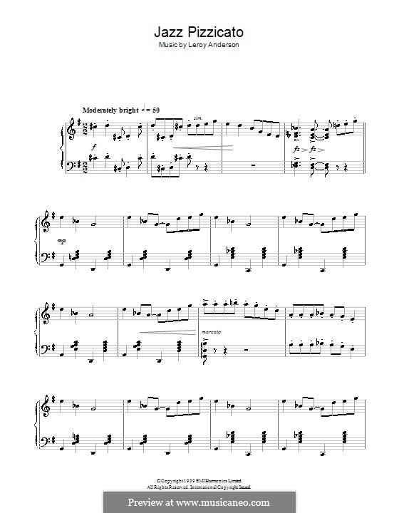Jazz Pizzicato: For piano by Leroy Anderson