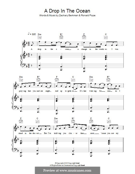 A Drop in the Ocean: For voice and piano (or guitar) by Ronald Pope, Zachary Berkman
