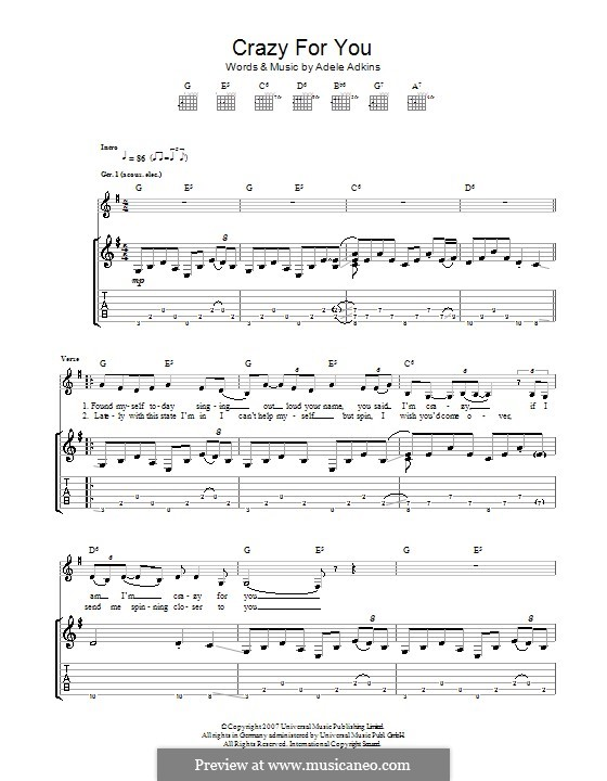 Crazy for You: For guitar by Adele