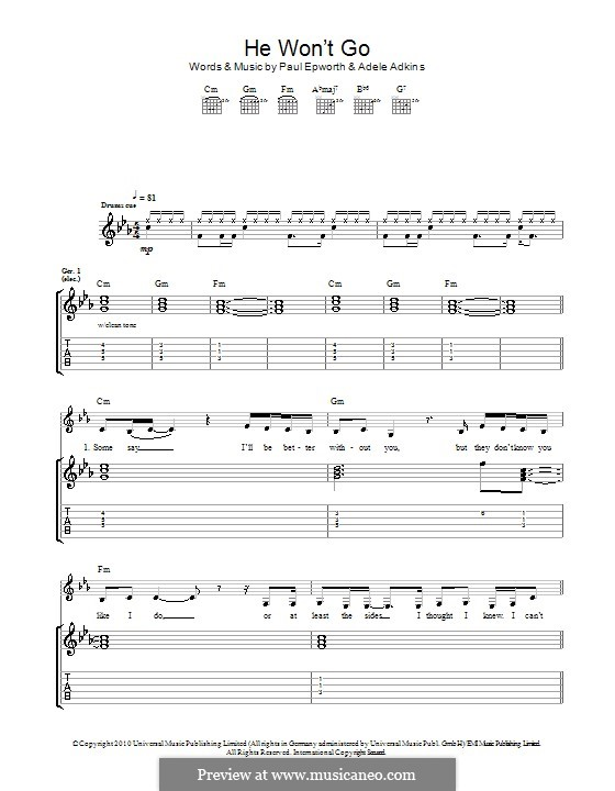 He Won't Go: For guitar by Adele, Paul Epworth
