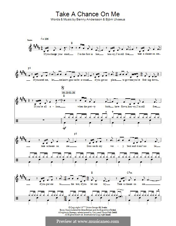 Take a Chance on Me (ABBA): For drums by Benny Andersson, Björn Ulvaeus