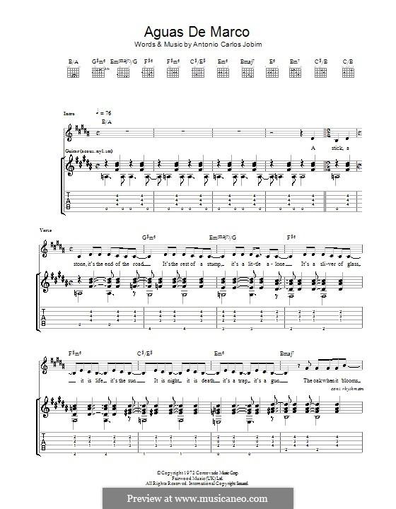 Aguas de Marco: For guitar with tab by Antonio Carlos Jobim