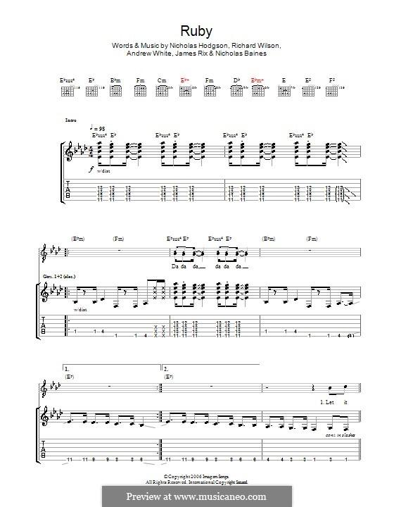 Ruby (Kaiser Chiefs): For guitar with tab by Andrew White, James Rix, Nicholas Baines, Nicholas Hodgson, Charles Wilson