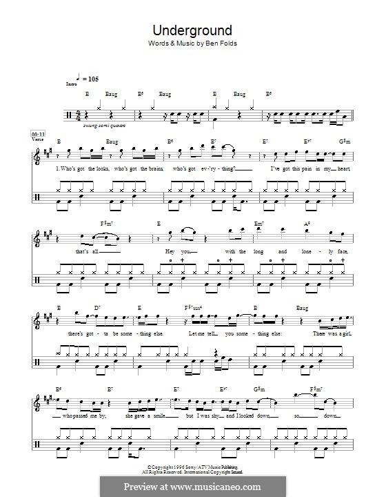 Underground (Ben Folds Five): For drums by Ben Folds