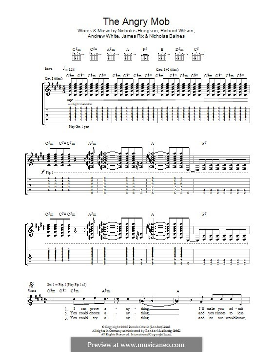 The Angry Mob (Kaiser Chiefs): For guitar with tab by Andrew White, James Rix, Nicholas Baines, Nicholas Hodgson, Charles Wilson