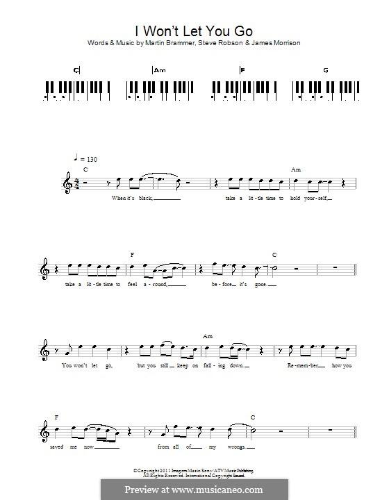 I Won't Let You Go: For keyboard by James Morrison, Martin Brammer, Steve Robson