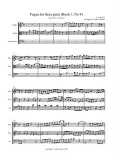 Prelude and Fugue No.8 in E Flat Minor, BWV 853: Fugue, for string trio (in E minor) by Johann Sebastian Bach