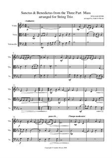 Mass for Three Voices: Sanctus and Benedictus, for string trio by William Byrd