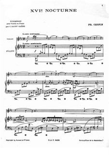 Nocturnes, Op.55: No.2, for violin and piano by Frédéric Chopin