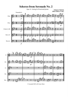 Serenade No.2 in A Major, Op.16: Scherzo, set for woodwind quintet by Johannes Brahms