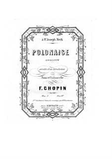 Introduction and Polonaise Brilliant in C Major, Op.3: Solo part, Score for two performers by Frédéric Chopin