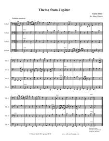 Jupiter: Theme, for four beginner cellos (cello quartet) by Gustav Holst