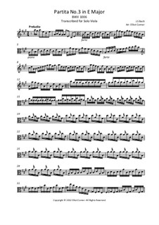 Partita for Violin No.3 in E Major, BWV 1006: Arrangement for solo viola by Johann Sebastian Bach