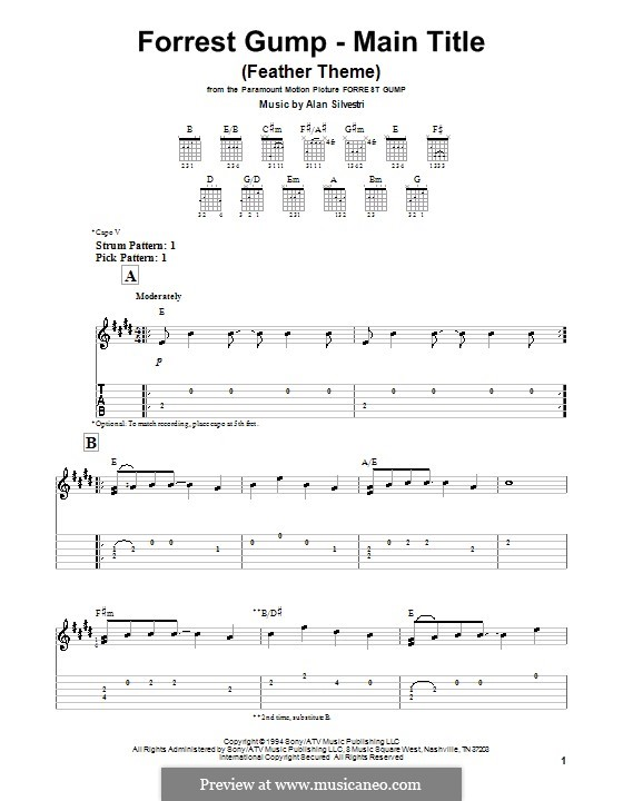Forrest Gump Suite (Theme): For guitar by Alan Silvestri