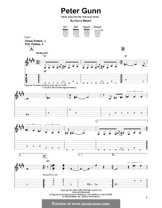 Vocal-instrumental version: For guitar by Henry Mancini