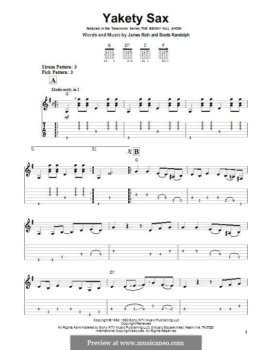 Yakety Sax: Easy guitar tab by James Rich