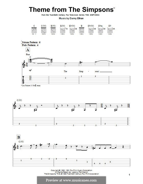 Theme from The Simpsons: For guitar by Danny Elfman