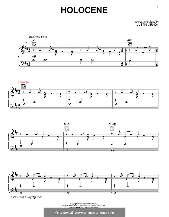 Holocene Bon Iver By J Vernon Sheet Music On Musicaneo